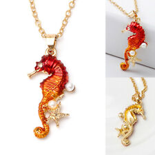 Seahorse Decor Starfish Pearl Pendant Lady Necklace Women Clavicle Chain Jewelry