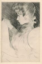 "Paul Helleu ""Femme lisant, de profil"" original etching"