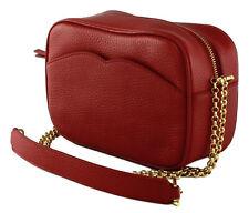 Lulu Guinness Amber Cross Body Bag Red Medium Pebbled Leather Handbag