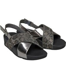 FITFLOP Womens Sandals Summer Silver Grey/Black UK 5 Lulu Leopard Crystal NEW