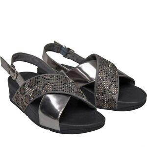 FITFLOP Womens Sandals Summer Silver Grey/Black UK 6 Lulu Leopard Crystal NEW