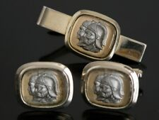 Vtg Gold Tone Silver Cameo Centurion Warrior Trojan Knight Cufflinks Lucite