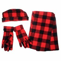 Women's Red Polyester Fleece Plaid Winter Set (WSET8020-Red)