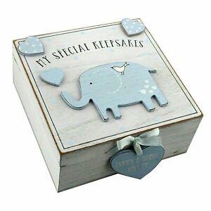 Baby Boy Blue Wooden Memories Keepsake Box Vintage Style Newborn Shower Gift