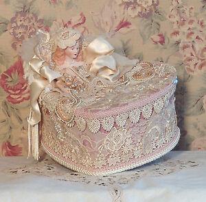 Victorian Pink & Cream Hand Decorated - Trinket/  Hat Box- Vintage Style PHH-1