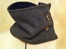 Black grey Harris tweed scarf cowl Scottish gift tartan