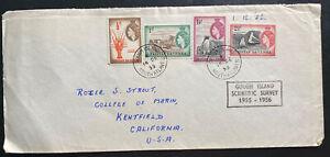 1955 Gough Island Tristan da Cunha Scientific Survey Cover to Kentfield CA USA