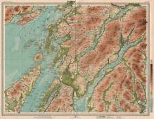 A Quadri. Dalmally Loch FYNE NORD Jura FIRTH di Lorne Loch soggezione. GRANDE MAPPA 1912
