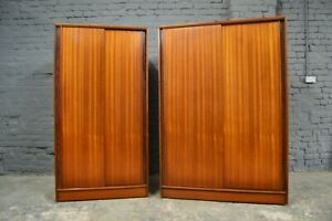 2x Vintage Mid Century Austinsuite Teak Sliding Door Wardrobes Frank Guille