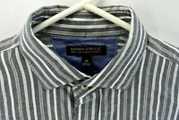Banana Republic Mens Dress Shirt Gray Stripe Size 15 Slim Fit Medium Long Sleeve
