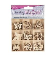 Darice BUTTERFLY Theme Mini Laser Cut Wood Shapes Spring Flowers 45 pieces