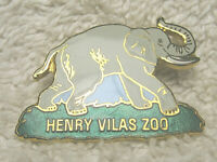 "VINTAGE HENRY VILAS ZOO 1.25"" METAL ENAMEL ELEPHANT LAPEL PIN MADISON WISCONSIN"