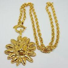 Authentic Rare Vintage Chanel Large CC Logo Gold Lion Necklace Pendant Chain