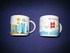 "(LOT OF 2) 2014 STARBUCKS MUG 14 FL OZ. ""SAN FRANCISCO & SAN DIEGO"""