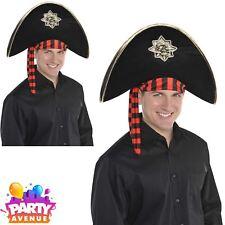 Adult Pirate Skull & Bones Hat Black Buccaneer Fancy Dress Accessory