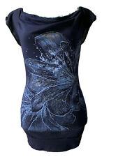 California Girlz M Navy Blue Floral Flutter Sleeves Glitter Jeweled Summer Top
