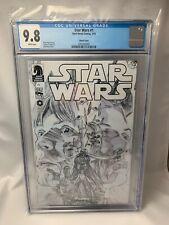 STAR WARS #1 - Rare Alex Ross Sketch Variant - CGC 9.8 Graded B&W Cover Dark