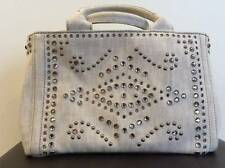 Ladies Handbag - PRADA Canapa Tote Bag Bijoux Studded Bianco Denim 2 Way