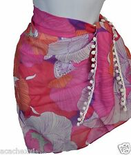 Julie Brown Women's Sarong Pompom Silky Wrap Scarf Beach Cover-Up, Haven Pink