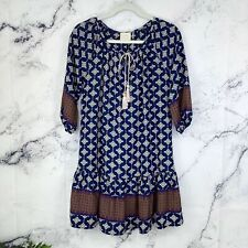 Anthropologie Vanessa Virginia Aztec Tribal Boho Ruffle Mini Dress Navy Size XS