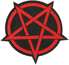 Pentagram Patch Red Occult Satanism Witchcraft Devil Pagan Wicca Pentacle Star