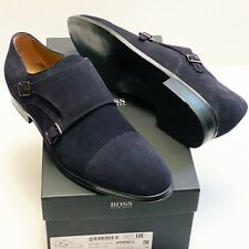 HUGO BOSS ITALY Double Monk Strap 10.5 Men's Blue Suede Leather Dress Oxford