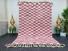 "Handmade Moroccan Beni Ourain Rug 5'4""x8'2"" Checked Berber White Pink Wool Rug"