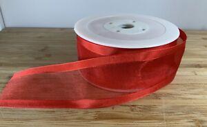 Organza Sheer Tramline Red Ribbon. Festive valentine 40mm SOLD PER METER Gift UK