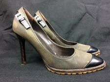 GIUSEPPE ZANOTTI DESIGN CAMO Canvas Lug Sole Black Belt Brass Buckle Heels Sz 37