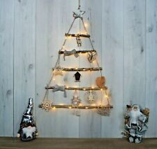 Large Hanging Rustic Wooden D.I.Y Rope Ladder LED Christmas Tree With Decor