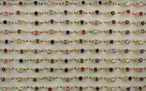 Bulk Lots 32pcs Round Cubic Zirconia Wedding Ring Gold P Copper Adjustable Rings