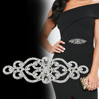 Silver Clear Diamante Rhinestone Motif Sew on Applique Crystal Patch for Gowns
