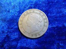 Jamaica penny 1890 VICTORIA Fine Very Scarce 36,000 Minted