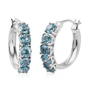 3.95 ctw Sky Blue Topaz Earrings in Platinum Over Sterling Silver Jewelry
