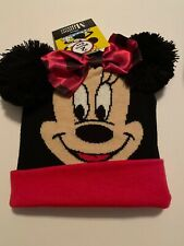 Disney Minnie Mouse GIRLS Hat And Glove Set Pompom Ears Bow