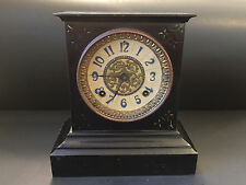 Antique 1882 Black Iron Mantel Clock Ansonia Clock Company