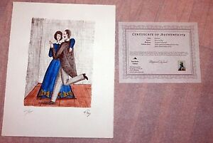 "OSCAR DE MEJO ""ROSELAND"" DANCING Hand colored Lithograph SIGNED COA Edition 45"