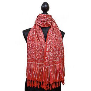 BATIK Printed Scarf Sarong Candy Flower Red & White 100% Cotton Fair Trade