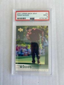 """Tiger Woods 2001 Upper Deck Golf Rookie Card #1 PSA Mint """"9"""" NEW PSA GRADE"""