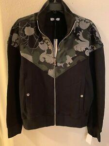 NWT Men's Versace Collection Full Zip Black Mock Neck Hoodie Size Large