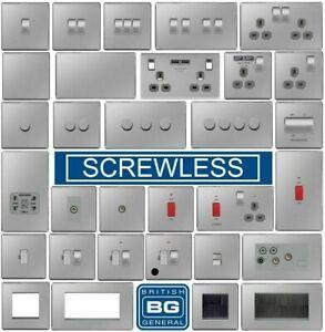 BG Nexus Brushed Steel Screwless Flat plate Switches & Sockets Satin Chrome Grey