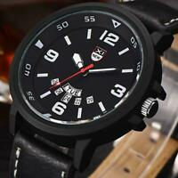 Fashion Men's Leather Band Watch Military Sport Analog Quartz Date Wrist Watch