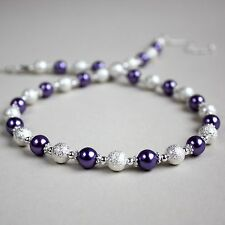 Silver stardust purple pearl beaded collar choker necklace wedding bridal gift