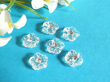 "402B/Charming Small Buttons "" Translucent "" Transparent Heart Of Rhinestone"