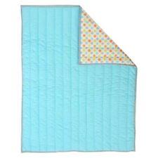 Sumersault Unisex Reversible Crib Quilt Baby Blanket Aqua green Orange Dots