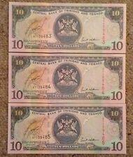Lot de 3 X Trinidad & Tobago Billets. 10 dollars. consécutives FEUILLETONS.