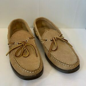 Maine Mountain Moccasin 8.5 D Made In USA Camp Suede Tan Two Eyelet