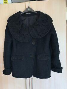 Black short,unusual,funky,woolen jacket size 14