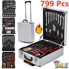 799pcs Rolling Hand Tool Set Standard Metric Mechanic Kit with Trolley Case Box