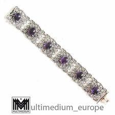 Modernist Silber Armband Amethyst Cabochons signiert B 835